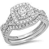 0.85 Carat (ctw) 10K Gold Round White Diamond Ladies Split Shank Bridal Halo Style Engagement Ring Set