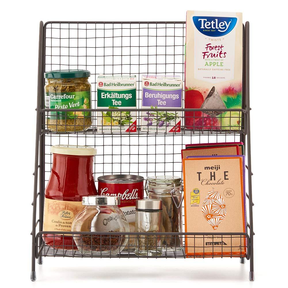 Amazon.com: Estante organizador de 2 niveles, cesta de ...