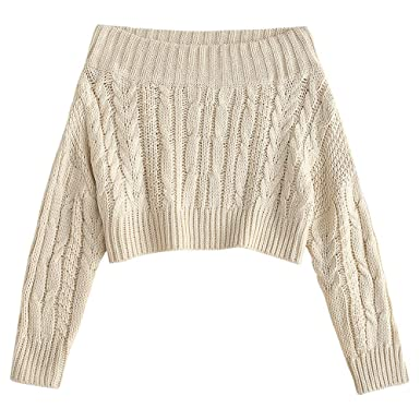 41ed2eac22 ZAFUL Women s Off Shoulder Long Sleeve Chunky Cable Knit Sweater Pullover  (Beige)