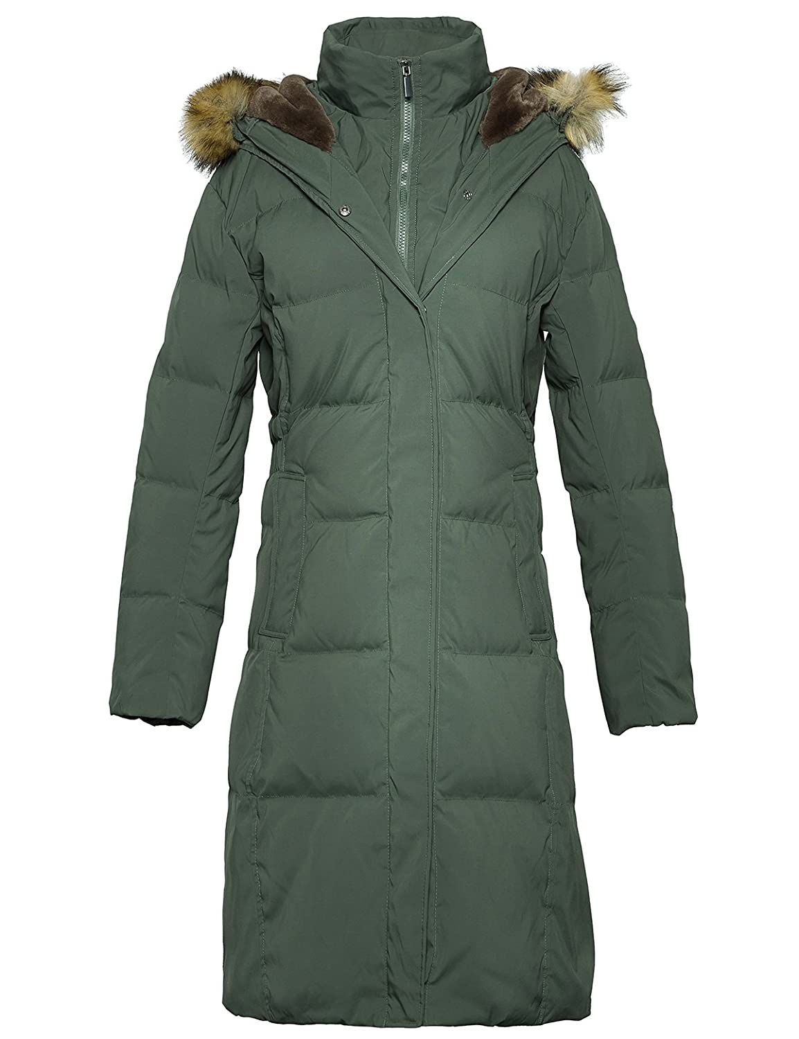 16504d2bb99 Amazon.com  ADOMI Women s Long Hooded Thickened Down Coat with Fur Trim   Clothing