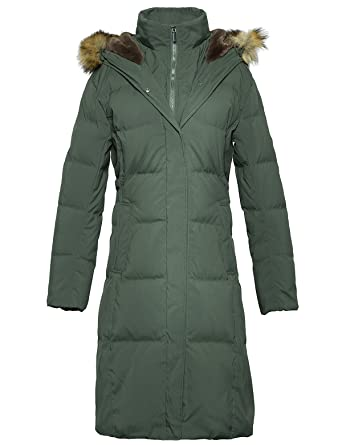 f31a9f7b7d4 ADOMI Women s Long Hooded Thickened Down Coat with Fur Trim Army Green L