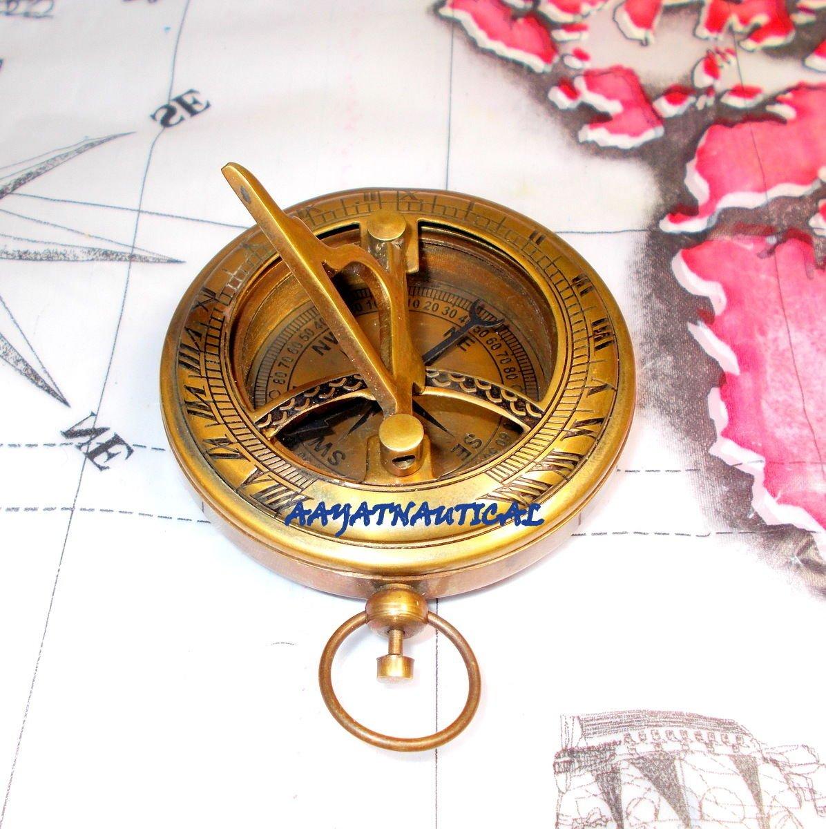 真鍮コンパスプッシュボタンコンパスポケットコンパスEngraved Compass Niceギフト B073SRP7DC