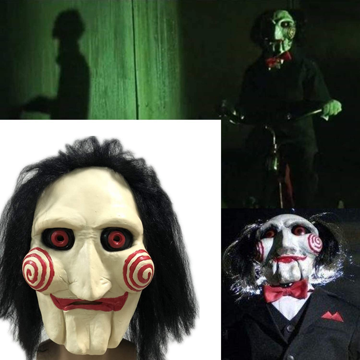 The Puppet Mask,Saw Cosplay Jigsaw Dress Up Mask Costume,Halloween Latex Scary Mask with Hair