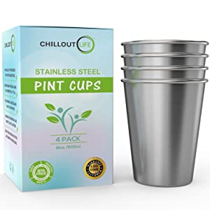 Stainless Steel Pint Cups Water Tumblers 16 oz - Unbreakable, BPA Free, Stackable Premium Quality 18/18 Metal Drinking glasses for Home & Outdoor Activities, Picnic, Travel & Camping (4-Pack)