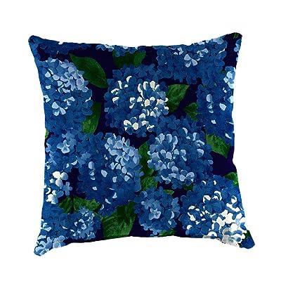 Plow & Hearth Polyester Classic Throw Pillow - 22 sq. x 8 Midnight Hydrangea : Garden & Outdoor