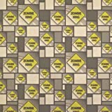 Zombie Xing Crossing Stylized Yellow Grey Caution Sign Kraft Present Gift Wrap Wrapping Paper