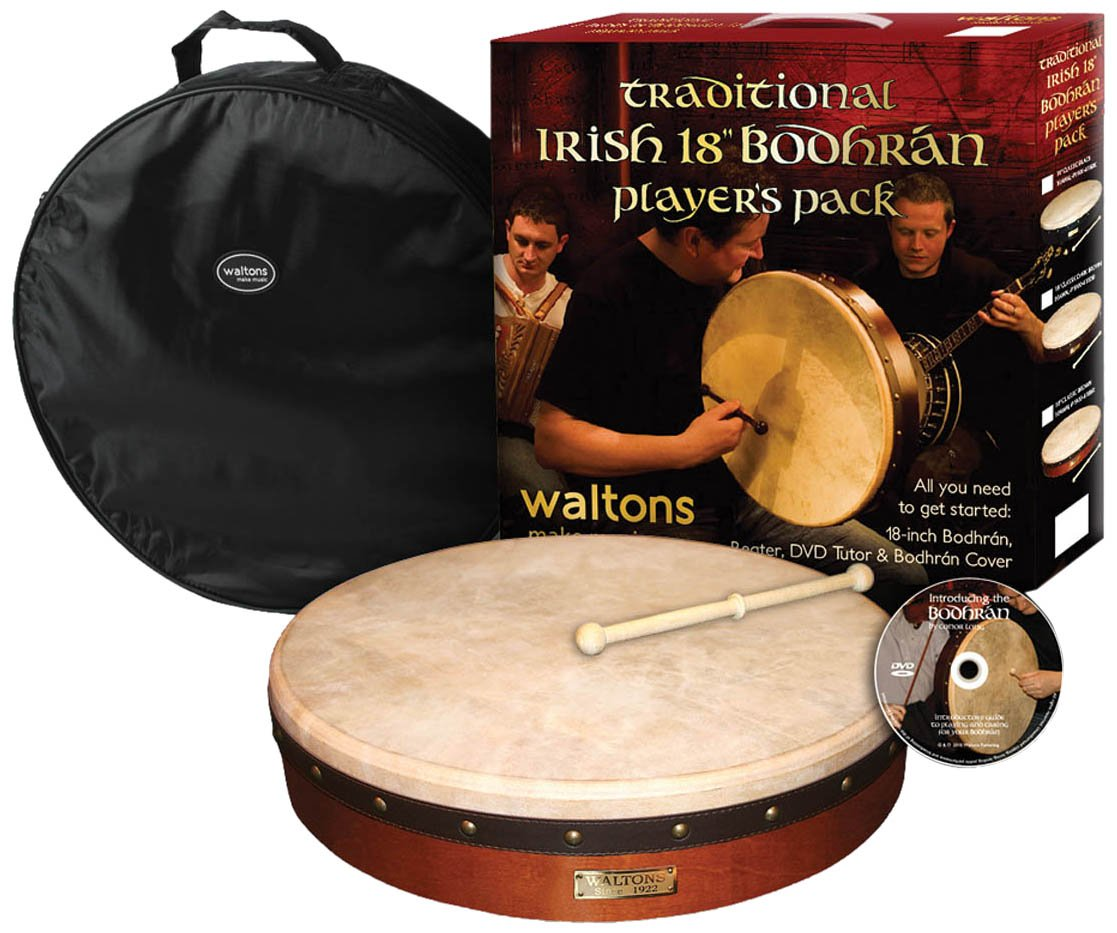 Waltons WMP1900 18-Inch Plain Bodhran Pack with DVD Beater and Cover Brown
