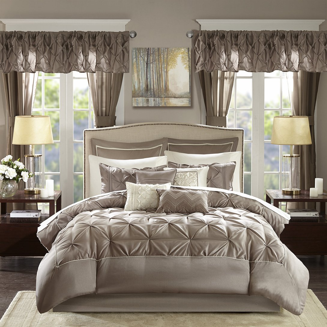 Madison Park Essentials Joella Queen Size Bed Comforter Set Room in A Bag - Taupe, Tufted Wrinkled – 24 Pieces Bedding Sets – Faux Silk Bedroom Comforters