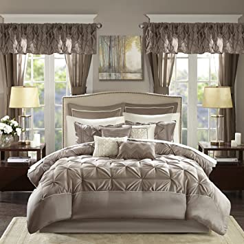 Madison Park Essentials Joella King Size Bed Comforter Set Room in A Bag -  Taupe, Tufted Wrinkled – 24 Pieces Bedding Sets – Faux Silk Bedroom ...