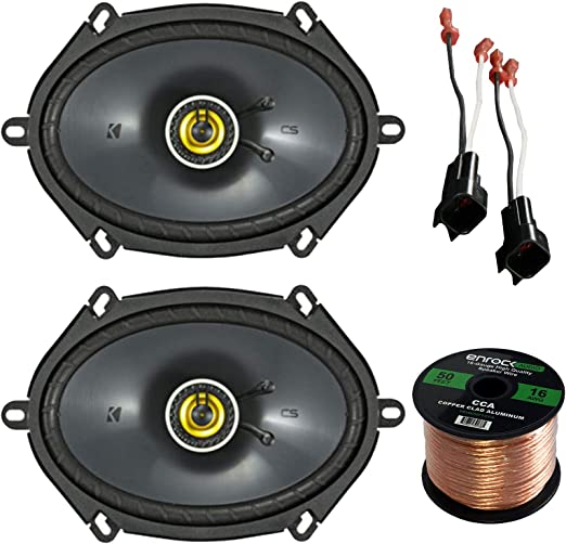 "Car Speaker Set Combo Of 10 Kicker 10x10"" Inch 10W 10-Way Car Coaxial Stereo  Speakers, 10 Metra 710-51000 Speaker Connector for Ford, Lincoln, Mazda,"
