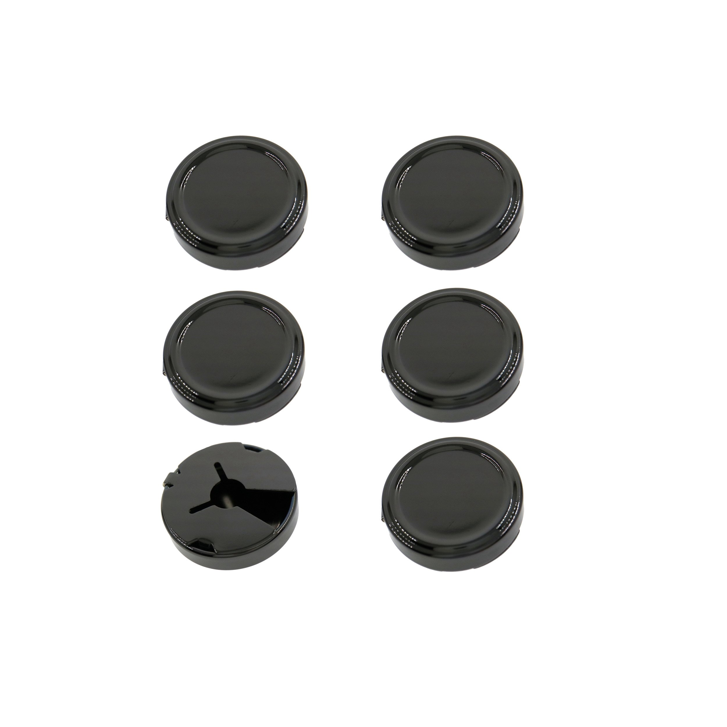 Ms.Iconic 25MM Big Gun Black Round Cuff Button Cover Cuff Links for Wedding Formal Shirt 6 Pcs/Set (Gun Black)