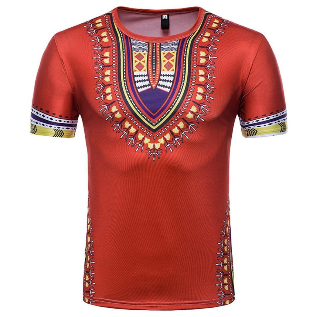 Moonuy Haute Qualité Chemise Décontractée à Manches Longues à Manches Courtes T-Shirt Imprimé Africain pour Hommes Traditionnelle Cool Vest Pullover O Neck T-Shirt Top Blouse