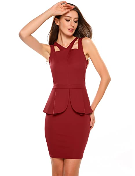 32244211177b59 Image Unavailable. Image not available for. Color  ANGVNS Women s  Sleeveless Solid Bodycon Midi or Mini ...