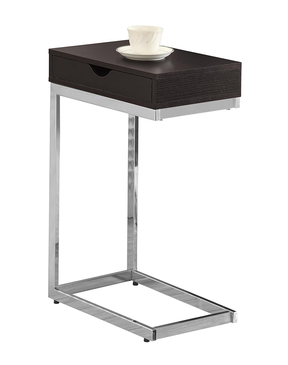 Attirant Amazon.com: Monarch Specialties I 3031, Accent Table With A Drawer , Chrome  Metal, Cappuccino: Kitchen U0026 Dining