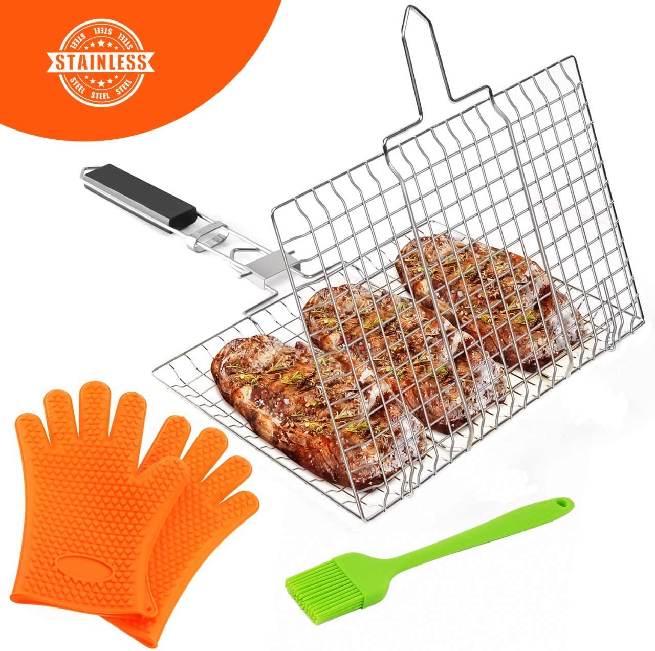 Dartt Fish Grill Basket Stainless Steel - Non-Stick Folding Lightweight BBQ Grill - Flexible Lockable Grill Grate, Gloves & Busting Brush Fish, Meat and Vegetables – Dishwasher Safe & Rust Free