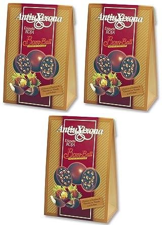 Bom-Ball bombones de chocolate puro de leche con crema de avellana y cereales etiqueta