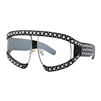 WOWSUN Oversize Fashion Pearl Sunglasses for Women Inspired Brand Designer