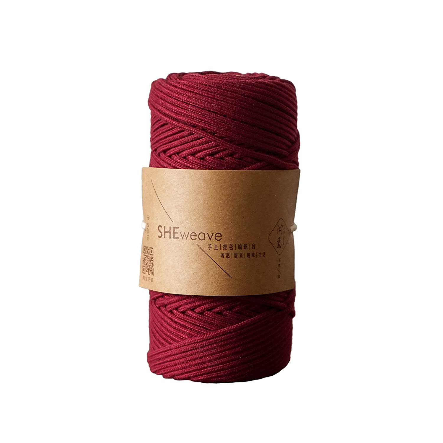 Wine red, 3mm x 100m Natural Cotton Macrame Cord Rope,Braided 3mm 1//8inch 110 Yards for Plant Hanger Craft Wall Hanging Tapestry Handmade DIY Crafts