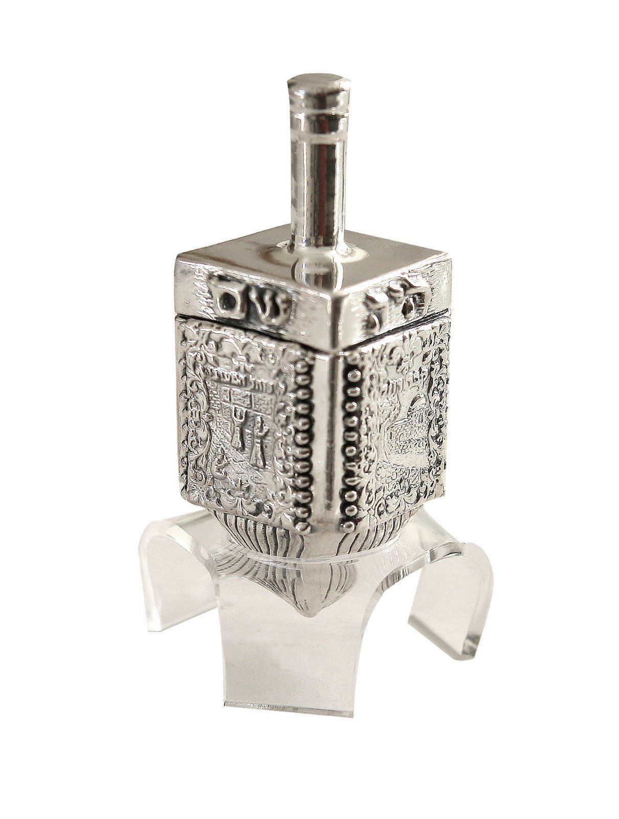 Hanukkah Chanukka Big Dreidel 925 Sterling Silver, Old Jerusalem Skyline Hand Made Size: 4.0'' x 1.25'' Stand Optional