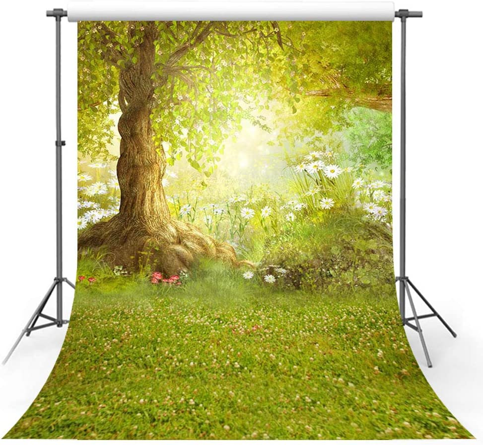 MEHOFOTO 6x8ft Photography Backdrop Happy Easter Woodland Big Tree Meadow Grass White Flower Fairy Tale Photo Studio Booth Background