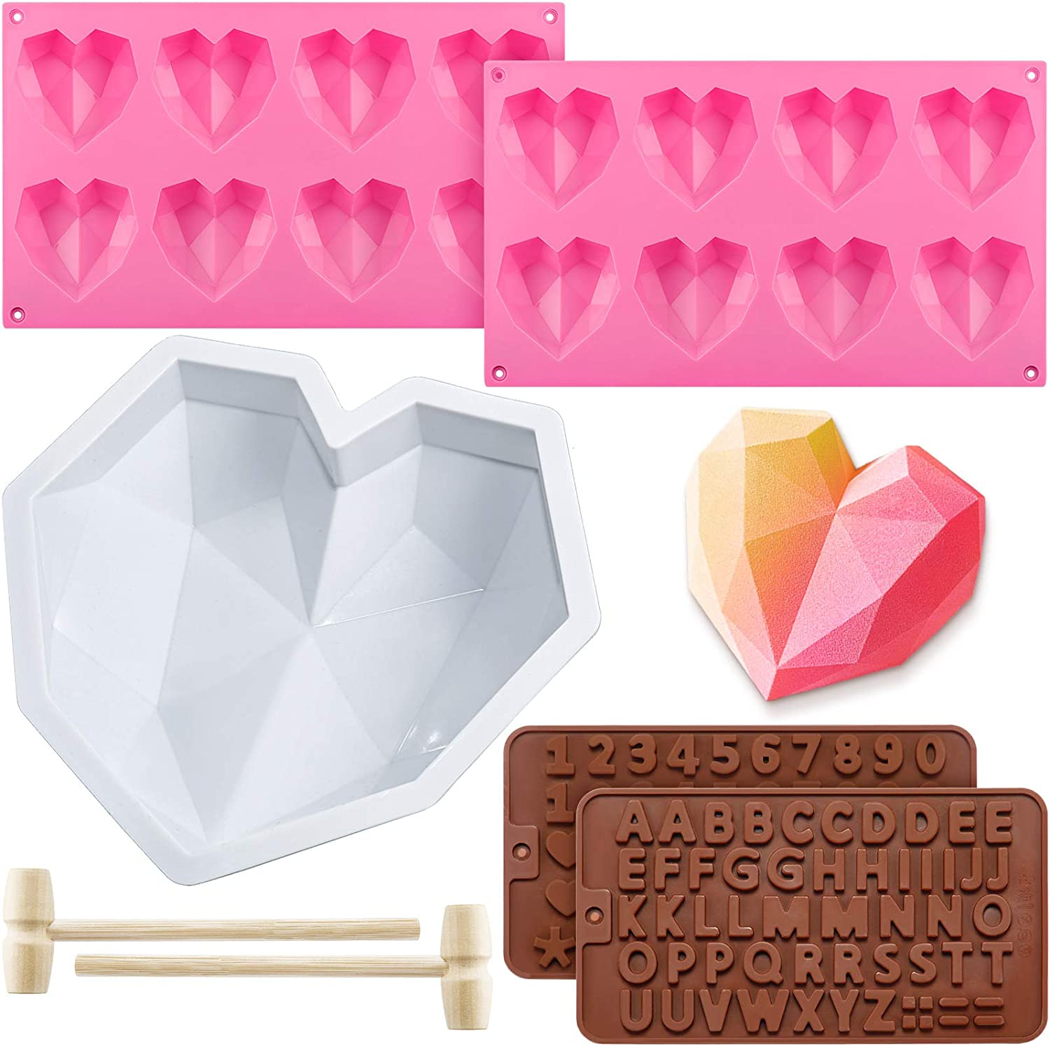 8.7 Inch Diamond Heart Mousse Silicone Cake Mold Tray, 2 Pieces 8 Cavities Heart Diamond Shaped Cake Mold Tray, 2 Pieces Chocolate Mold Letter Number Shaped Mold and 2 Pieces Wooden Hammer for Baking