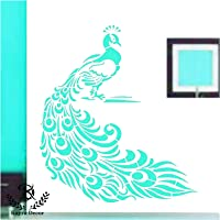 Kayra Decor Peacock Wallpaper Wall Stencil - (Vinyl, 16x24-inches, Multicolour)
