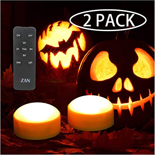 2 Pack Battery Operated LED Lights with Remote and Timer, Bright Flickering Flameless Candle Set for Pumpkin D cor Jack-O-Lantern Halloween Party Home Christmas Decorations, Orange Color