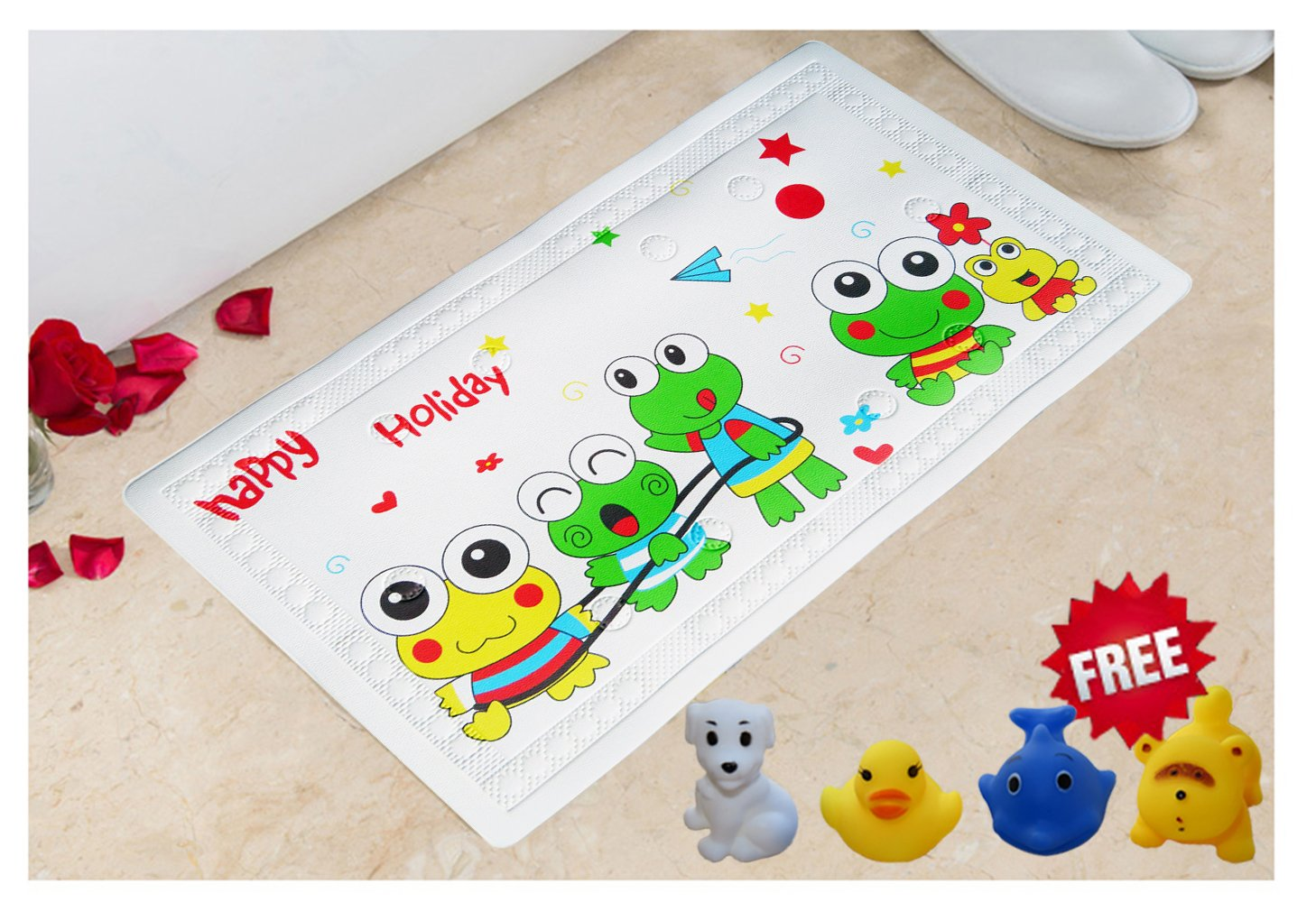 Littlefun Baby Non-Slip Bath Mat with Heat Sensitive Spot PVC for Home Bathroom Shower Kid Bath Toys Included(Frog Pattern) SYNCHKG099092