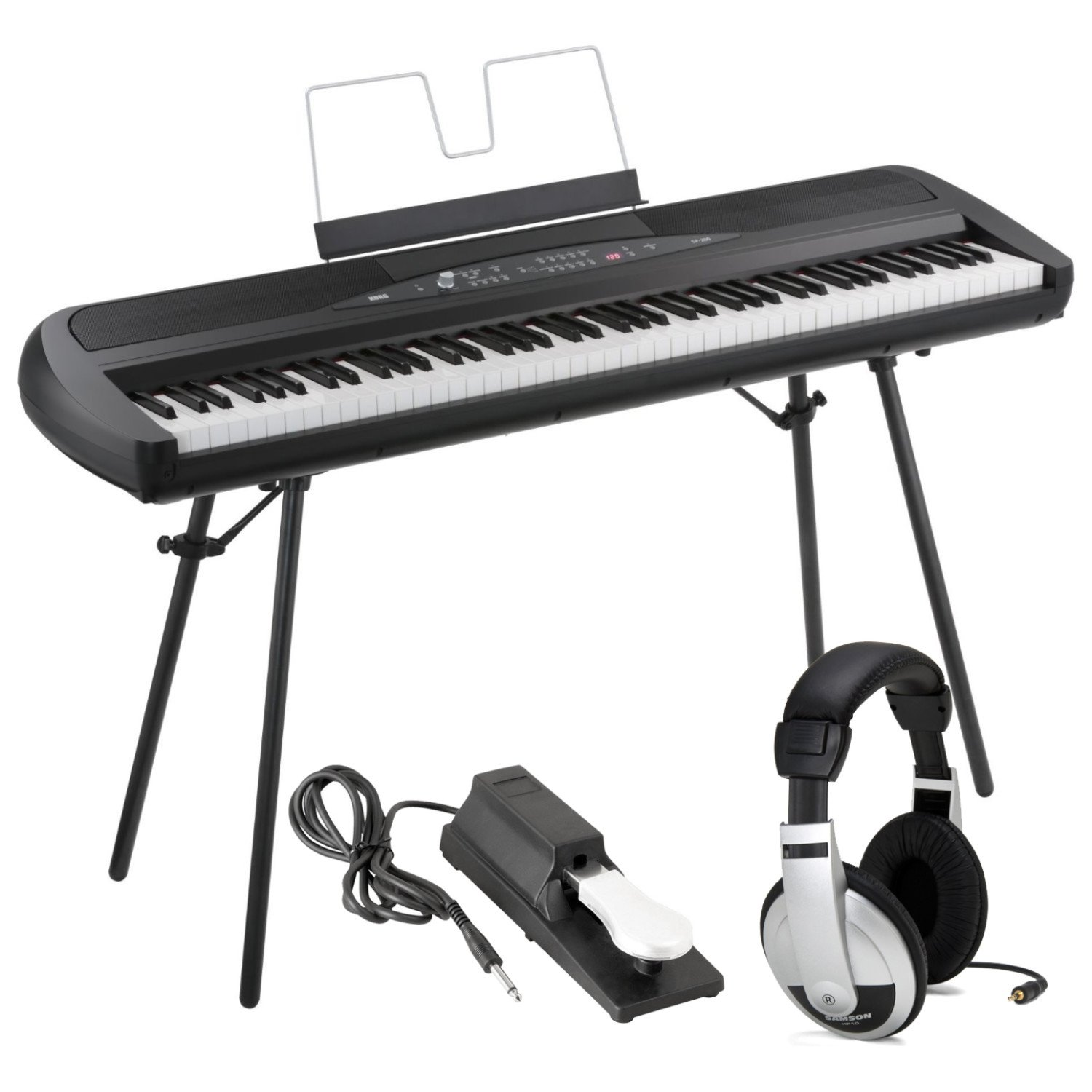 Korg SP280BK 88-Key Digital Piano with Speaker with Keyboard Piano Style Sustain Pedal and Stereo Headphones by Korg