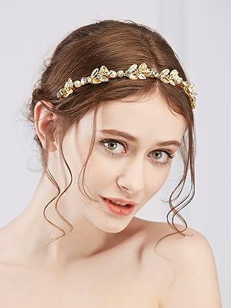Wedding Bridal Crystal Pearl Leaf Hair Accessories Headband Band Tiara Crown
