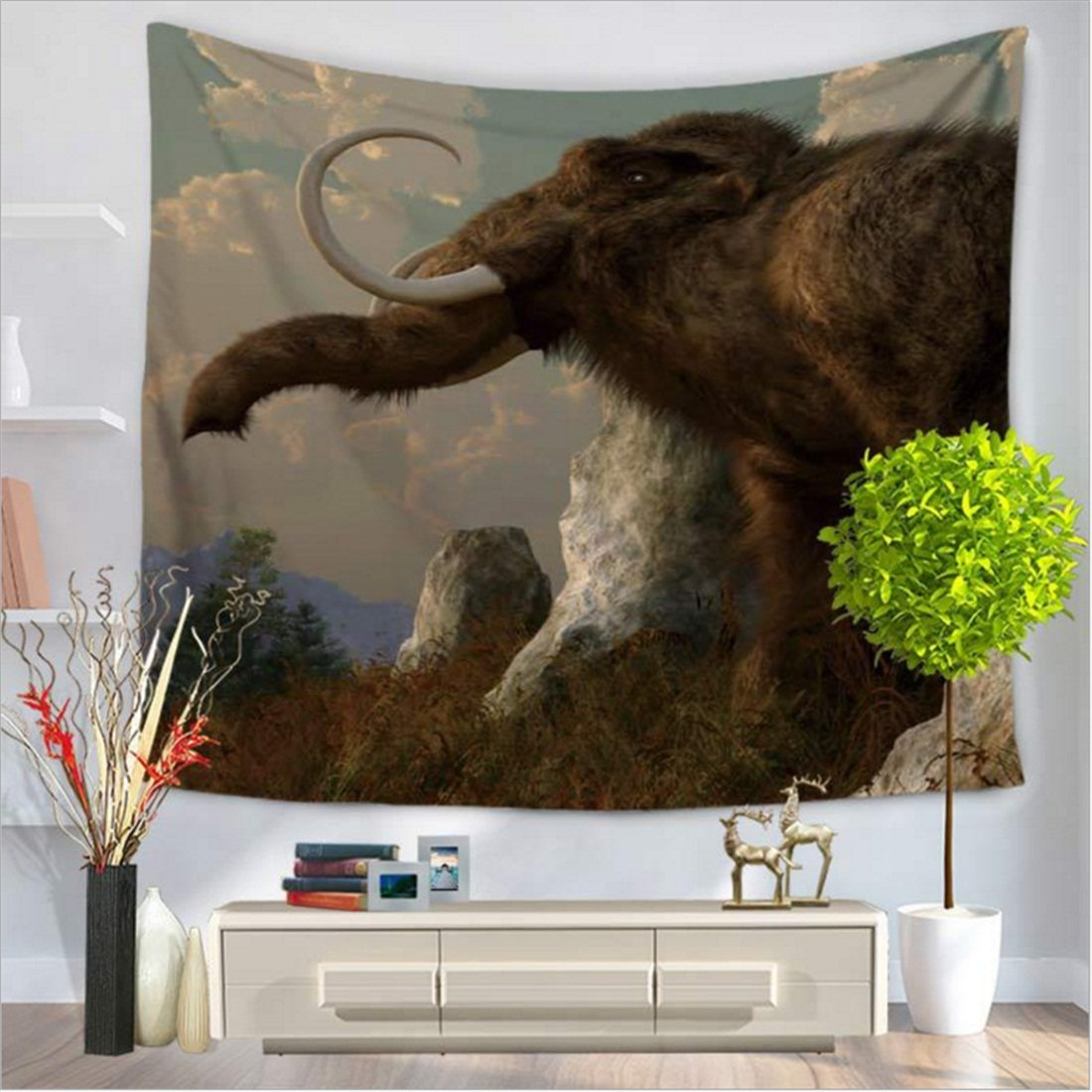 Tapestry /Mammoth/ animal elephant series / wall-mounted beach carpet / indoor and outdoor products / polyester fiber By MM-Maker ( Color : D , Size : 150130cm )