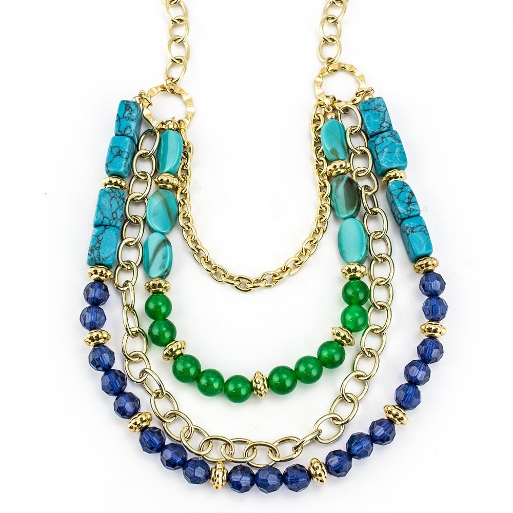 Women's Jewelry Turquoise and Jade Multi-Strand Statement Necklace Gold Tone Chains