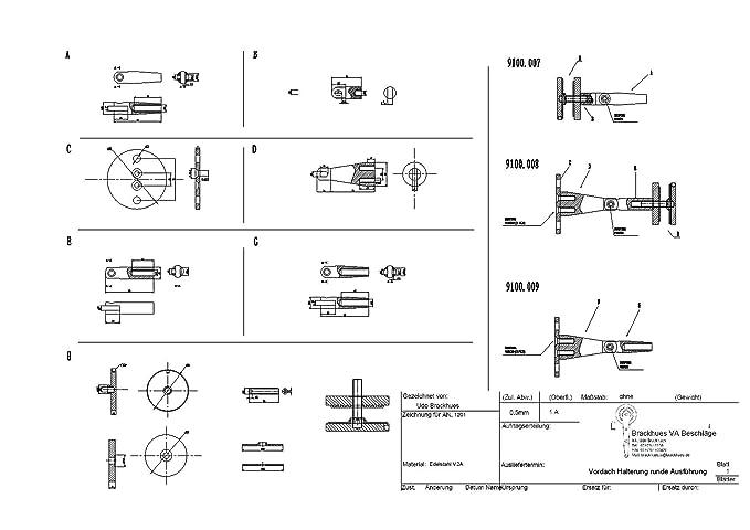 1000mm Zugstange Edelstahl Halterungen f/ür Glasvordach runde Ausf/ührung