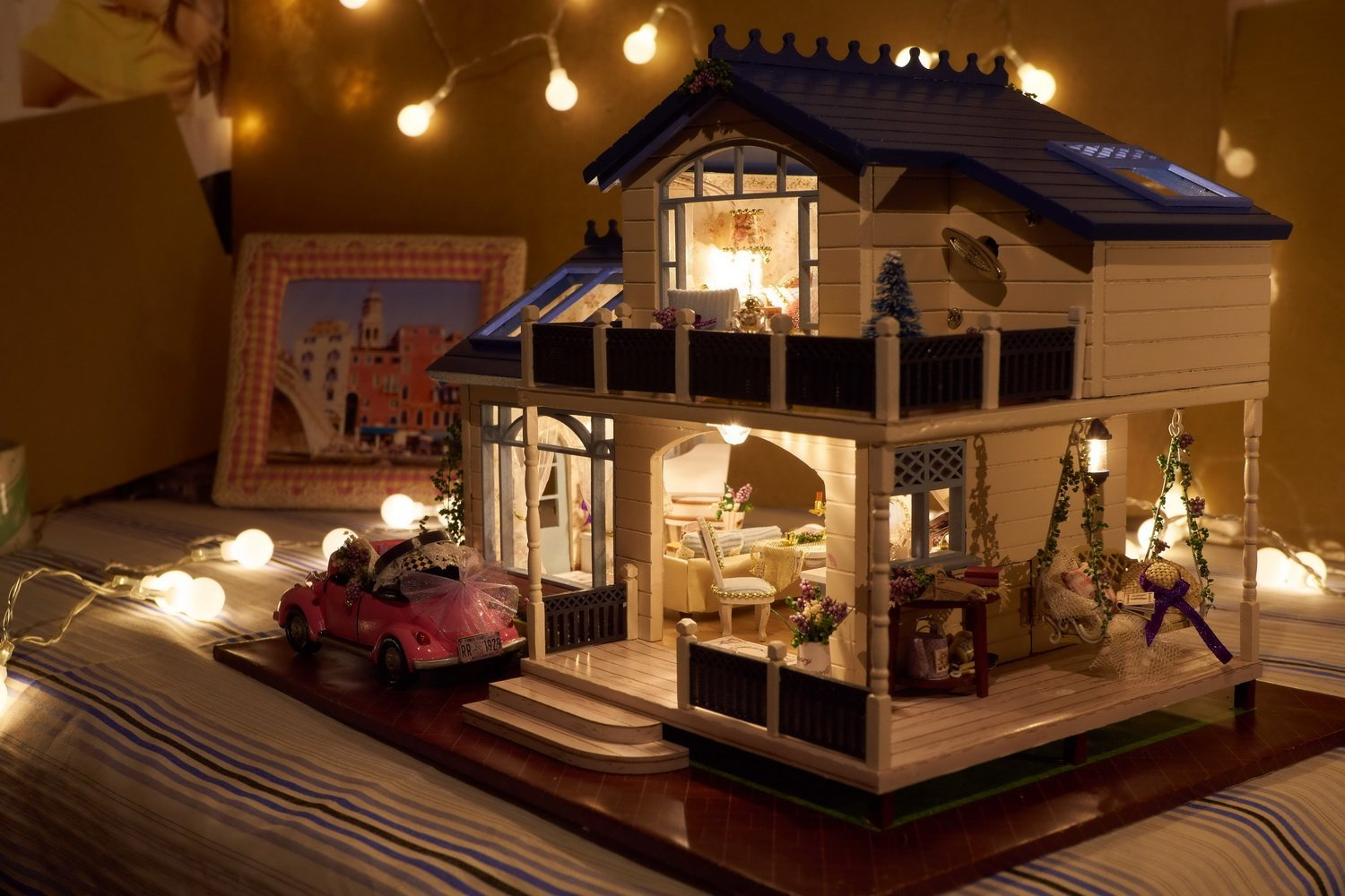 Bon Amazon.com: DIY Wooden Dollhouse Miniature Kit Wood House Toy U0026 LED Light  With All Furnitures Car By Youku: Toys U0026 Games
