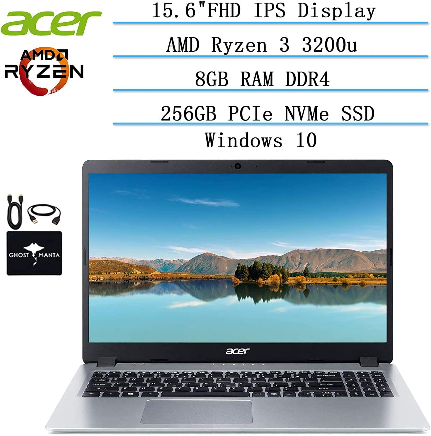 "2020 Newest Acer Aspire 5 Slim Laptop 15.6"" FHD IPS Display, AMD Ryzen 3 3200u-Dual Core (up to 3.5GHz), Vega 3 Graphics, 8GB RAM DDR4, 256GB PCIe SSD, Win10 w/Ghost Manta Accessories"