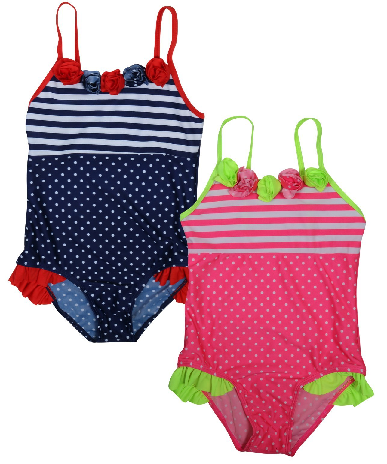 Real Love Girls' 2-Pack One Piece Swimsuit (Little Girls/Big Girls), Polka Dots, Size 7-8'