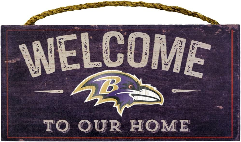 """Fan Creations Welcome Baltimore Ravens Distressed 6 x 12, 6"""" x 12"""", Multicolored"""
