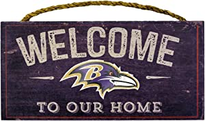 "Fan Creations Welcome Baltimore Ravens Distressed 6 x 12, 6"" x 12"", Multicolored"