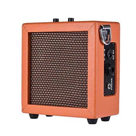 ammoon Amplificador Bateria Cargada Mini Guitarra Bajo Ukelele Amp Altavoz Alta Sensibilidad 3 Vatios de 9