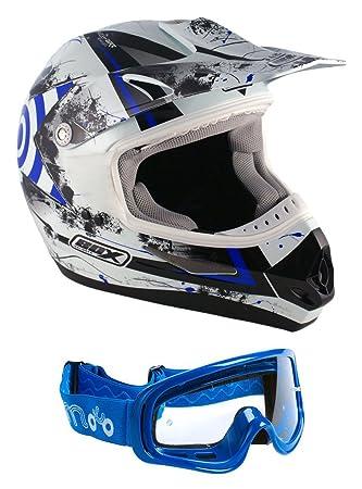 Box MX-5Casco azul y gafas azules para moto, Enduro, motocross