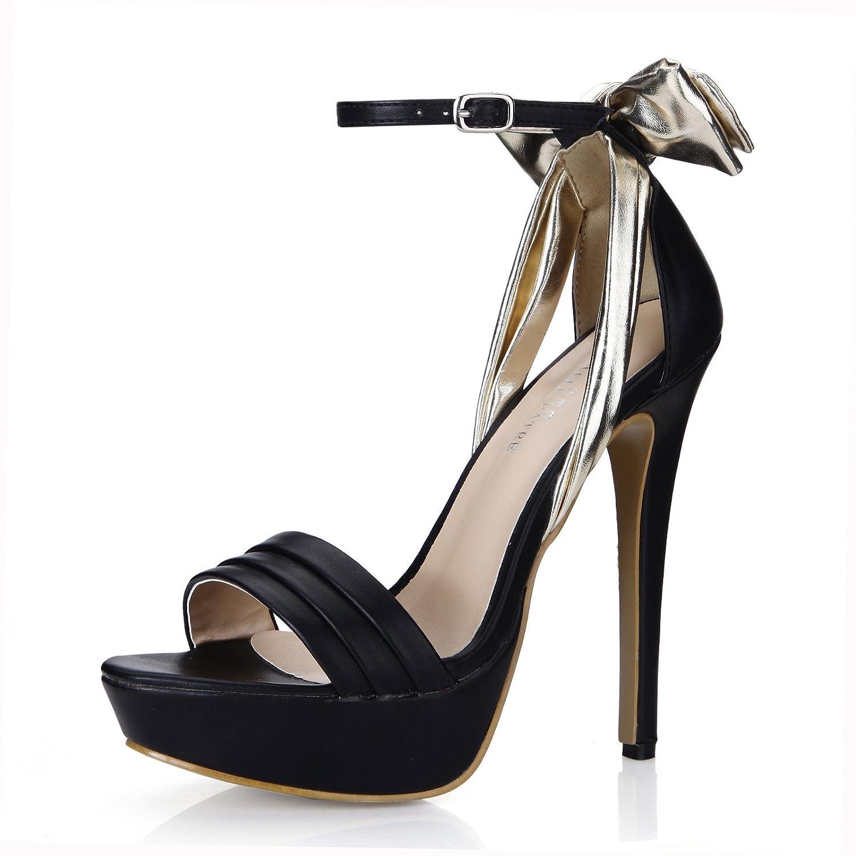 Noir Nouvelles Sandales femme noble dîner de l'chaussures à haut talon chaussures d'or noir US8   EU39   UK6   CN39