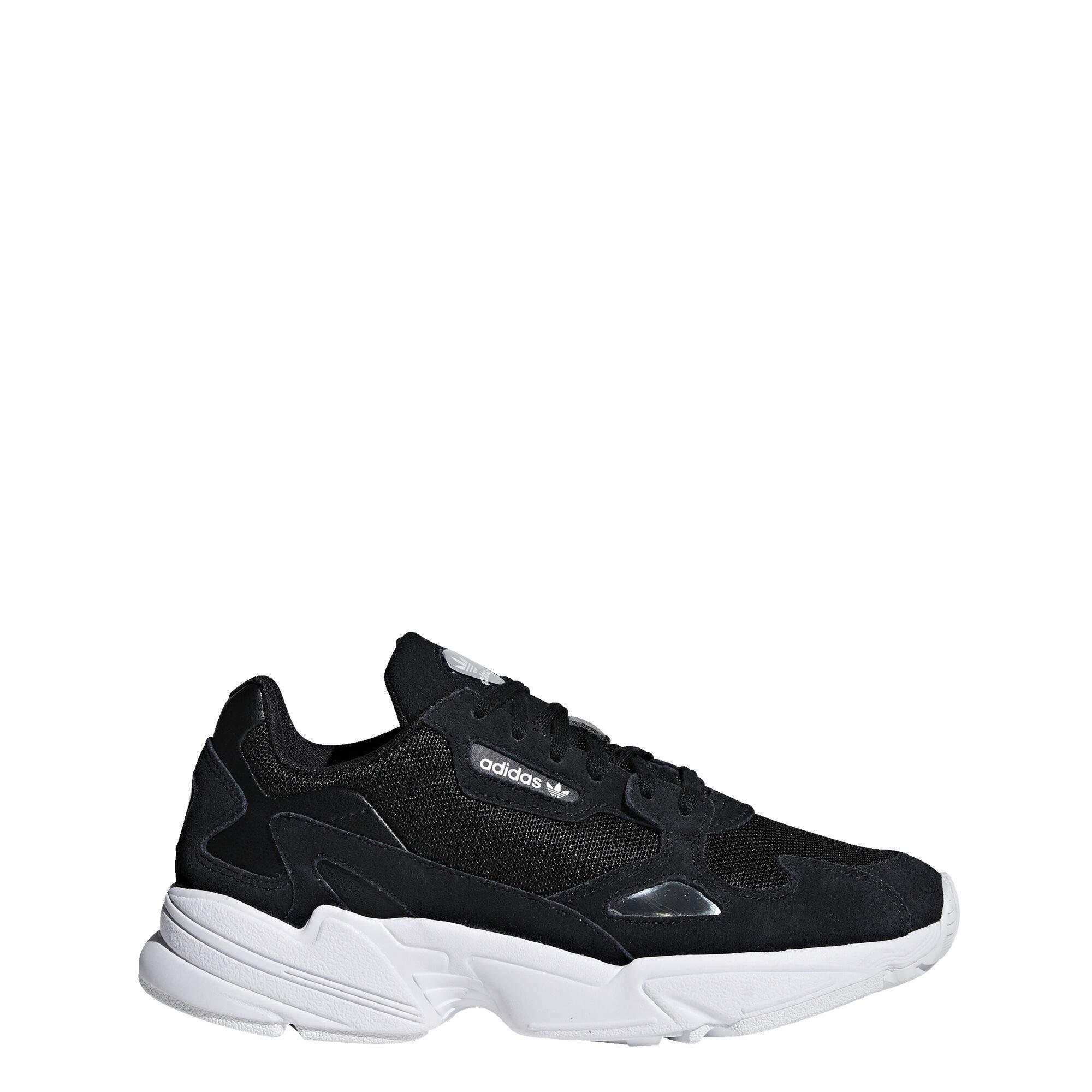 adidas Originals Women's Falcon Sneaker, Black/Black/White, 11 M US
