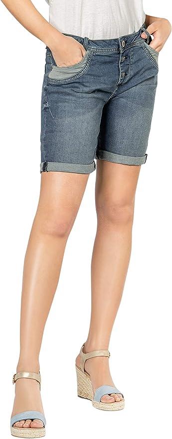 Sublevel Shorts de Mujer | Bermudas Vaqueros Azul con Rotos y Estilo Boyfriend