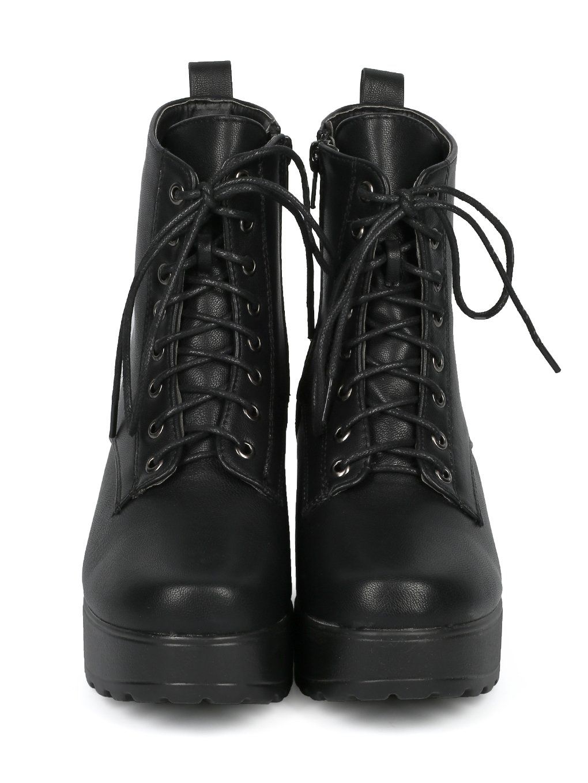 Indulge Mona I Women Faux Suede Heel Platform Lug Sole Block Heel Suede Combat Bootie HE17 B075KMYJRT 8.5 M US|Black Leatherette 9b5f4f