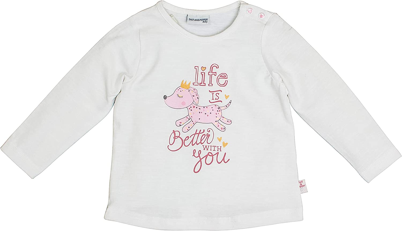 SALT AND PEPPER Baby-M/ädchen Lovely Hund Life is Better Langarmshirt
