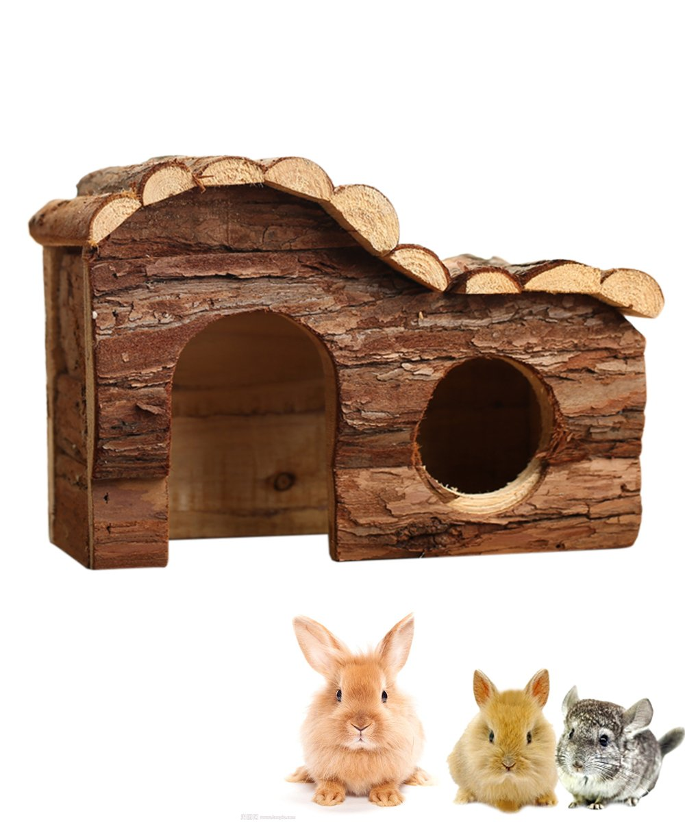 Hkim Wood Rabbit House, Deluxe Wooden Hamster Hideout Home Hut Play Chews Toys for Small Pet Animal/Dwarf Mice/Hedgehogs (Home) (B)
