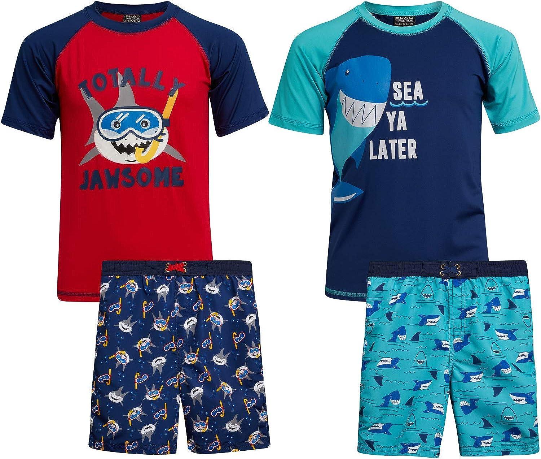Quad Seven Boys 4-Piece Rash Guard and Trunk Swimsuit Set (Infant/Toddler/Little Boys)