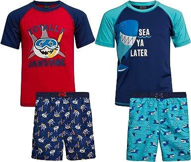 Quad Seven Boys 2-Piece Rash Guard and Trunk Swimsuit Set Infant//Toddler//Little Boys