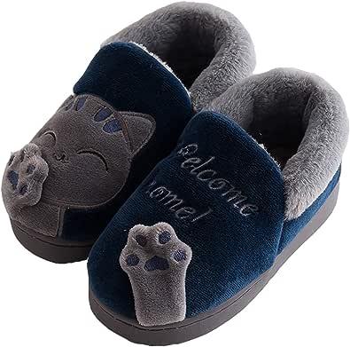 Zapatillas de Estar por Casa para Niños Niñas Invierno Otoño Slippers Casa Interior Caliente Pantuflas Suave Algodón Animados Historieta Zapatos