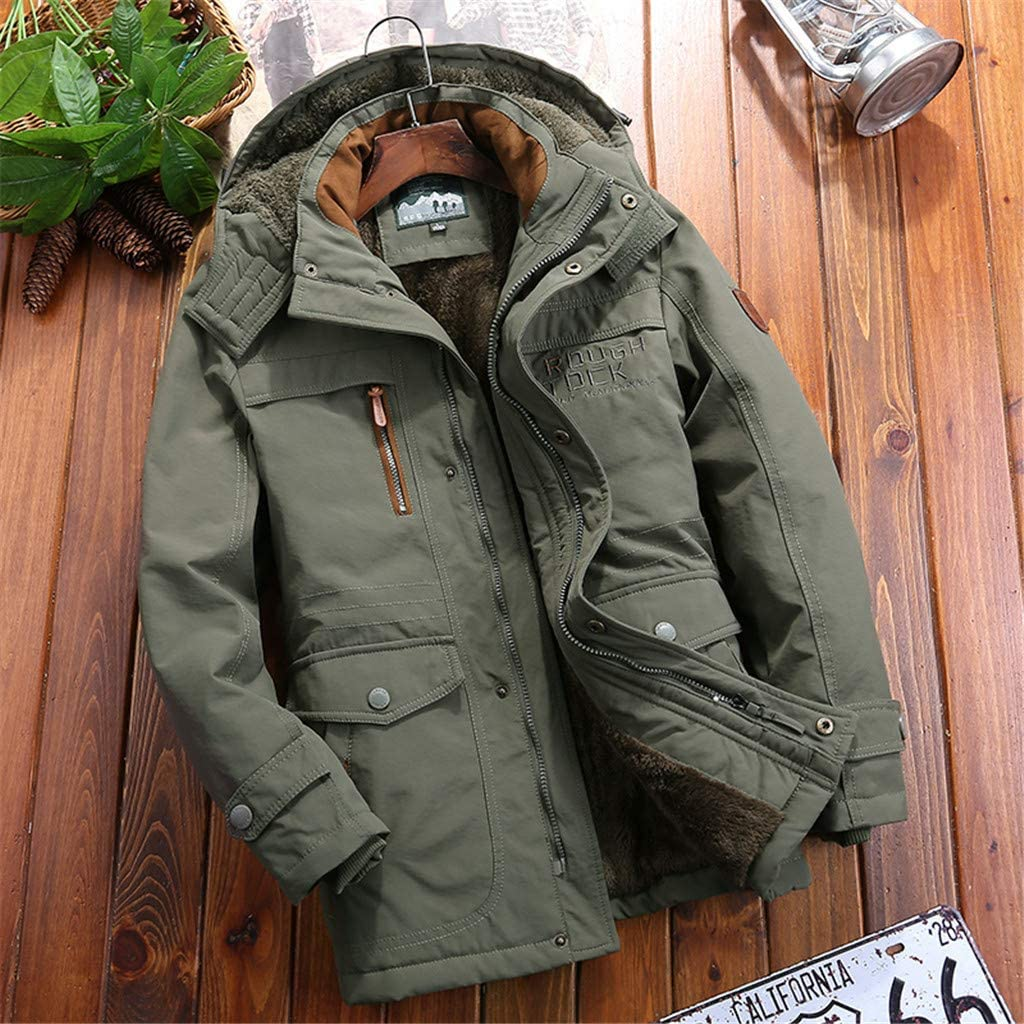 Dzinzuy Mens Jackets Winter Parka Thicken Coat Faux Fur Lined Quilted Outerwear Warm Casual Hooded with Removable Hood